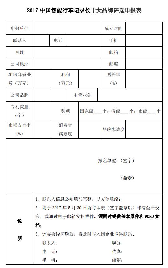 2017中国智能行车记录仪十大品牌评选